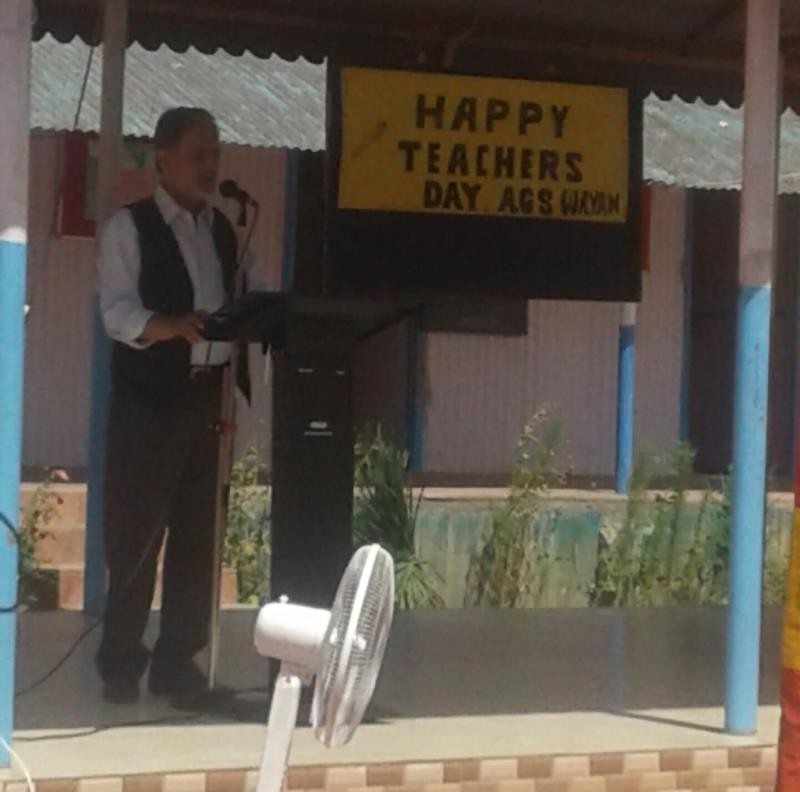 Ags wayne celebrates happy teachers day on 05/Sep/2018. Mr. Mohd Ashraf Mir principal delivers speech on the eve of the said program.